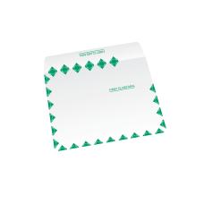 Papercone Zip Stick® Flat Envelopes 0914FC White Kraft 10 x 13 Green First Class Border, Inside Side Seams, Flaps Folded, Open Side, Sub 28 500/Carton