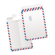 Papercone TYVEK® Zip Stick® Flat Envelopes 1303AM Red & Blue Air Mail border 9 x 12 Flaps Folded, Open End, Sub 14 500/Carton