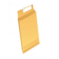 Papercone Zip Stick® Expansion Envelopes 0201PL Brown Kraft 4 1⁄8 x 9 ½ x 2 V-Bottom, Flaps Folded, Open End, Sub 40 250/Carton