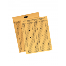 Papercone Inter-Departmental Flat Envelopes 1001ID Brown Kraft 10 x 13 - 100 Spaces, 6 Holes, Printed Front & Back Black Ink - Flaps Folded, Open End, Sub 28 500/Carton
