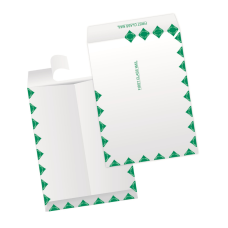 Papercone TYVEK® Zip Stick® Flat Envelopes 1203FC White/Green First Class Border 6 x 9 Flaps Folded, Open End, Sub 14 500/Carton