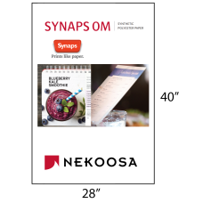 1 Case: 100 Sheets/cs 28 x 40 White 14 mil 166# Synthetic Polyester Paper SYNAPS OM by Nekoosa 66039